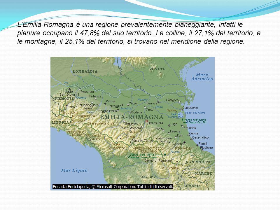 L'Emilia-Romagna è una regione prevalentemente pianeggiante, infatti le pianure occupano il 47,8% del suo territorio. Le colline, il 27,1% del territo