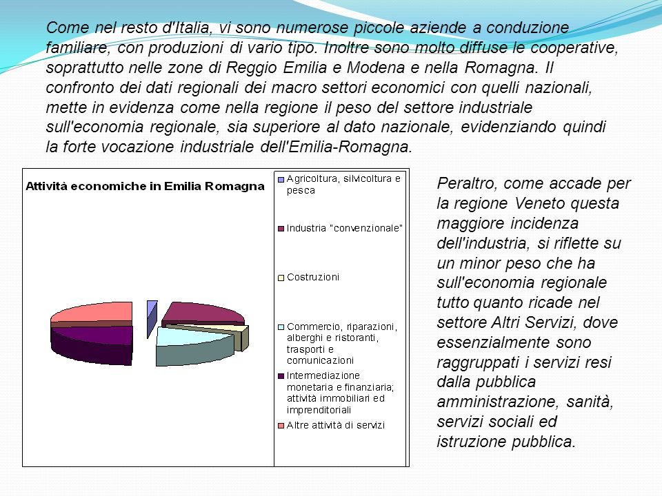 Come nel resto d'Italia, vi sono numerose piccole aziende a conduzione familiare, con produzioni di vario tipo. Inoltre sono molto diffuse le cooperat
