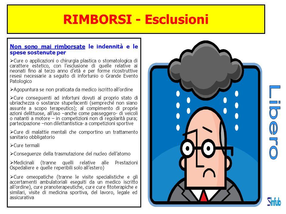RIMBORSI - Esclusioni Non sono mai rimborsate le indennità e le spese sostenute per Cure o applicazioni o chirurgia plastica o stomatologica di caratt