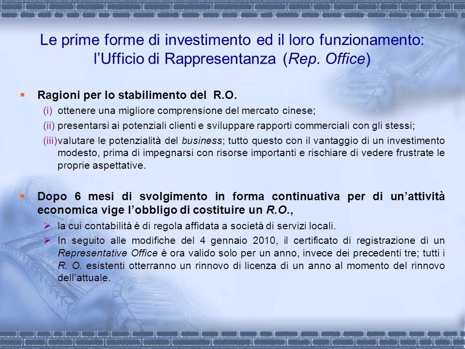 Le prime forme di investimento ed il loro funzionamento: lUfficio di Rappresentanza (Rep. Office) Ragioni per lo stabilimento del R.O. (i)ottenere una