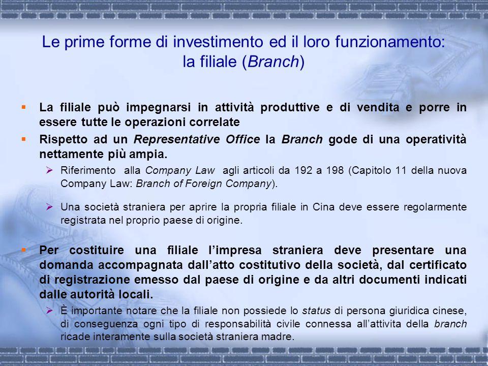 Le prime forme di investimento ed il loro funzionamento: la filiale (Branch) La filiale può impegnarsi in attività produttive e di vendita e porre in