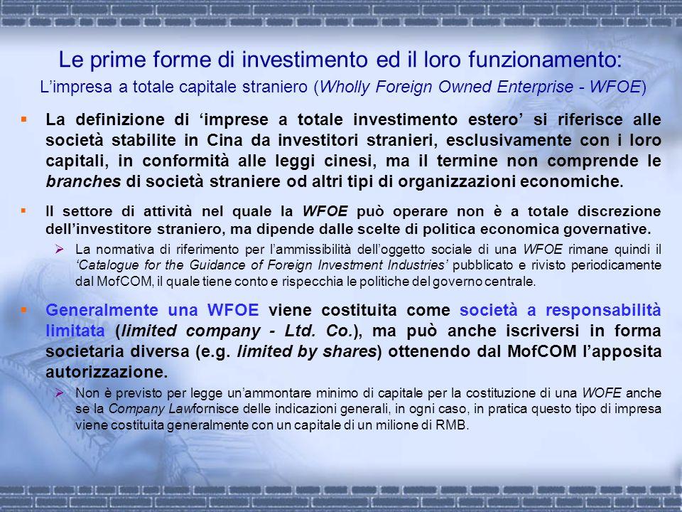 Le prime forme di investimento ed il loro funzionamento: Limpresa a totale capitale straniero (Wholly Foreign Owned Enterprise - WFOE) La definizione