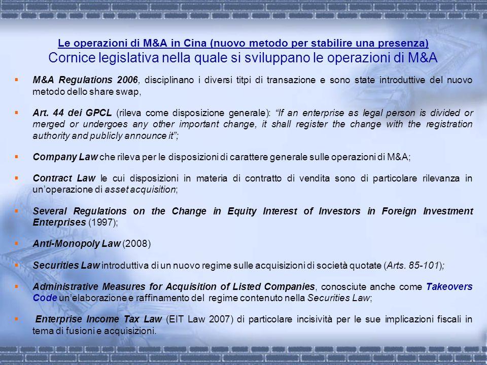 Le operazioni di M&A in Cina (nuovo metodo per stabilire una presenza) Cornice legislativa nella quale si sviluppano le operazioni di M&A M&A Regulati