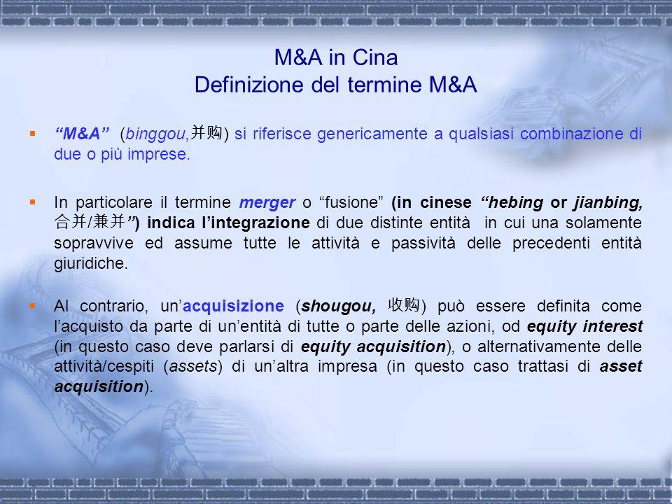 M&A in Cina Definizione del termine M&A M&A (binggou, ) si riferisce genericamente a qualsiasi combinazione di due o più imprese. In particolare il te