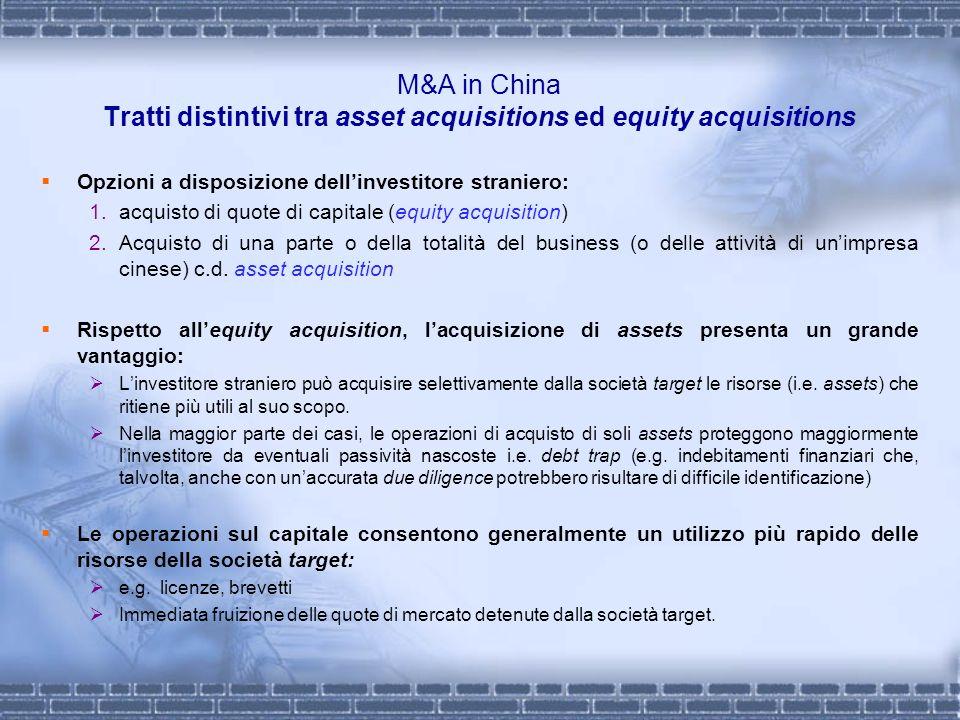 M&A in China Tratti distintivi tra asset acquisitions ed equity acquisitions Opzioni a disposizione dellinvestitore straniero: 1.acquisto di quote di