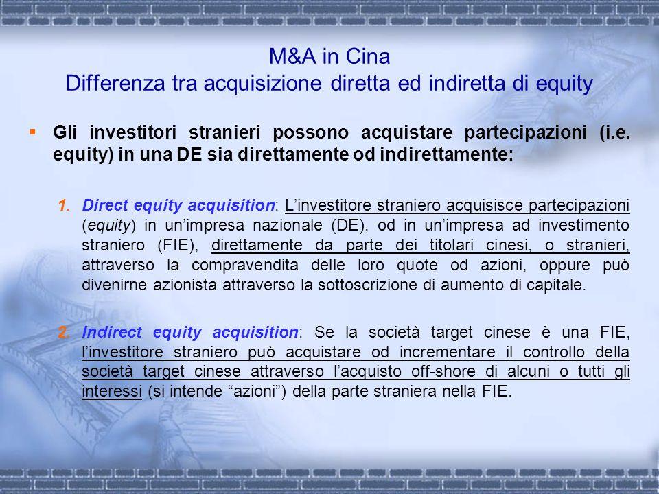 M&A in Cina Differenza tra acquisizione diretta ed indiretta di equity Gli investitori stranieri possono acquistare partecipazioni (i.e. equity) in un