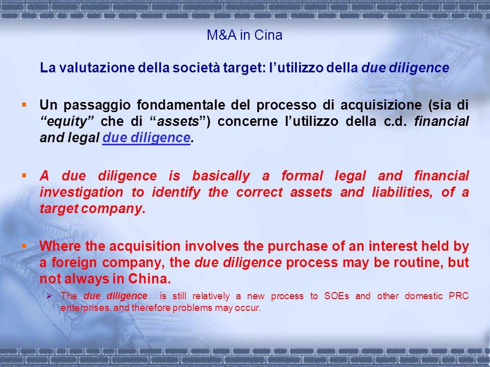 M&A in Cina La valutazione della società target: lutilizzo della due diligence Un passaggio fondamentale del processo di acquisizione (sia di equity c