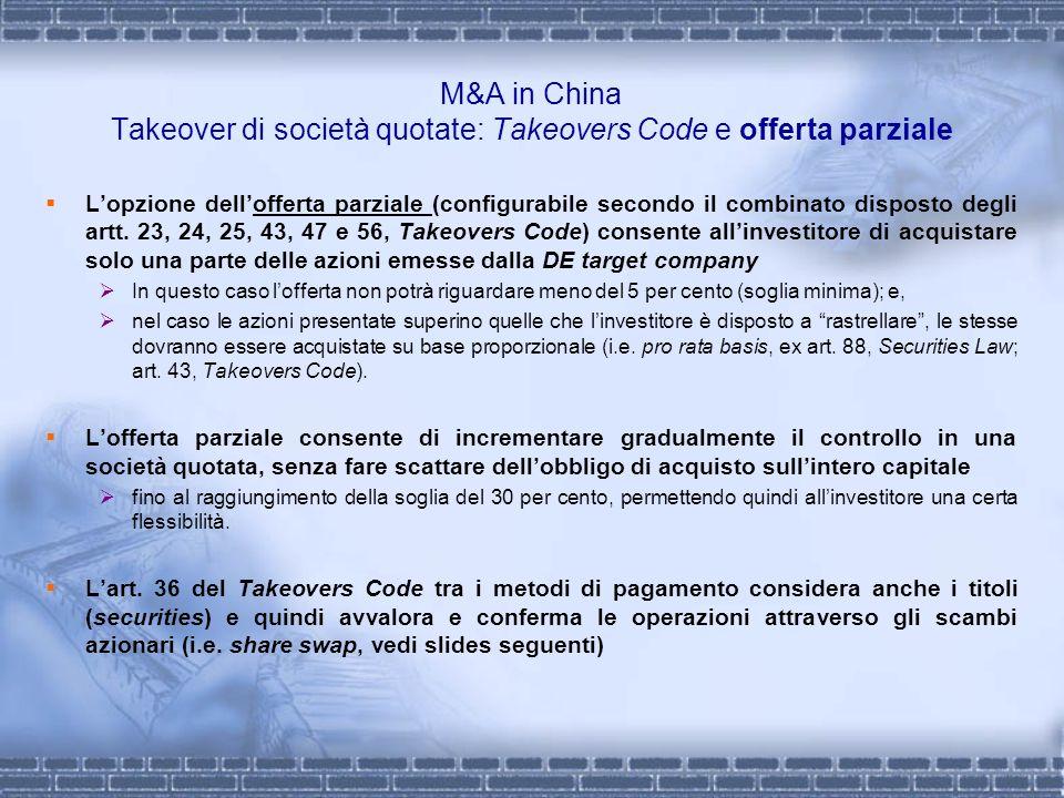 M&A in China Takeover di società quotate: Takeovers Code e offerta parziale Lopzione dellofferta parziale (configurabile secondo il combinato disposto