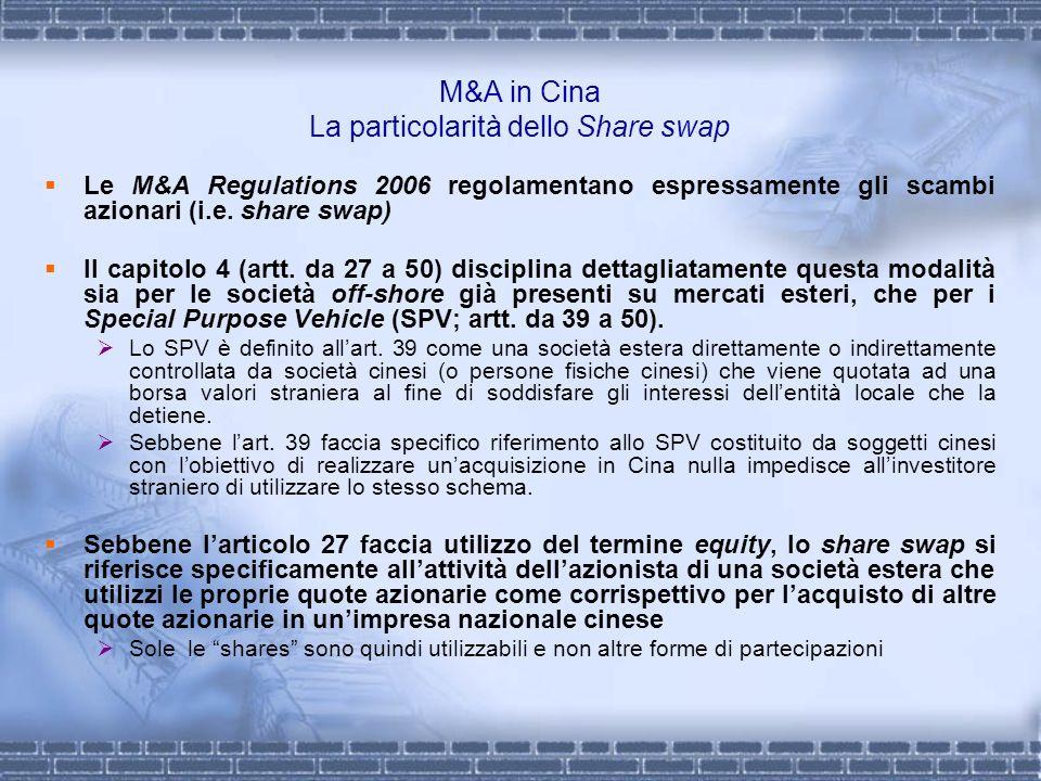 M&A in Cina La particolarità dello Share swap Le M&A Regulations 2006 regolamentano espressamente gli scambi azionari (i.e. share swap) Il capitolo 4
