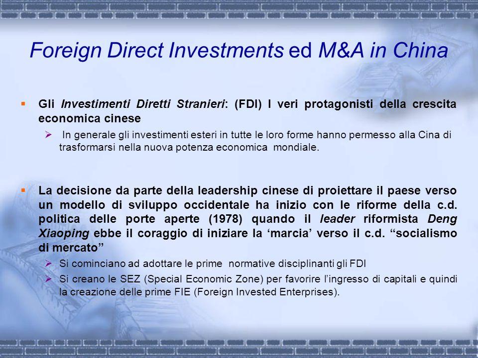 Foreign Direct Investments ed M&A in China Gli Investimenti Diretti Stranieri: (FDI) I veri protagonisti della crescita economica cinese In generale g