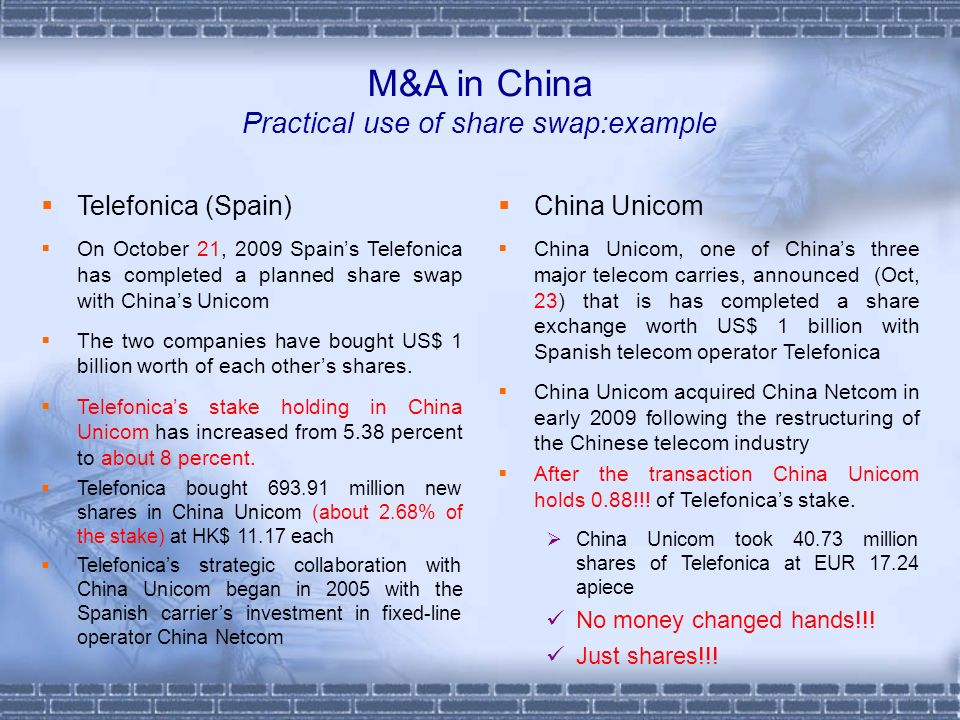 M&A in China Practical use of share swap:example Telefonica (Spain) On October 21, 2009 Spains Telefonica has completed a planned share swap with Chin