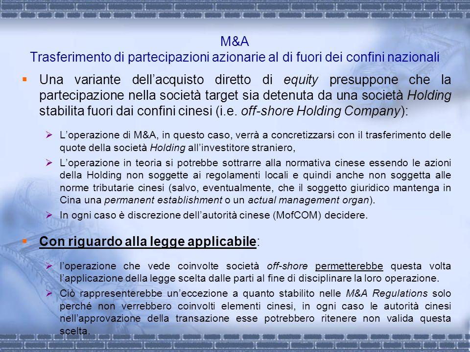 M&A Trasferimento di partecipazioni azionarie al di fuori dei confini nazionali Una variante dellacquisto diretto di equity presuppone che la partecip