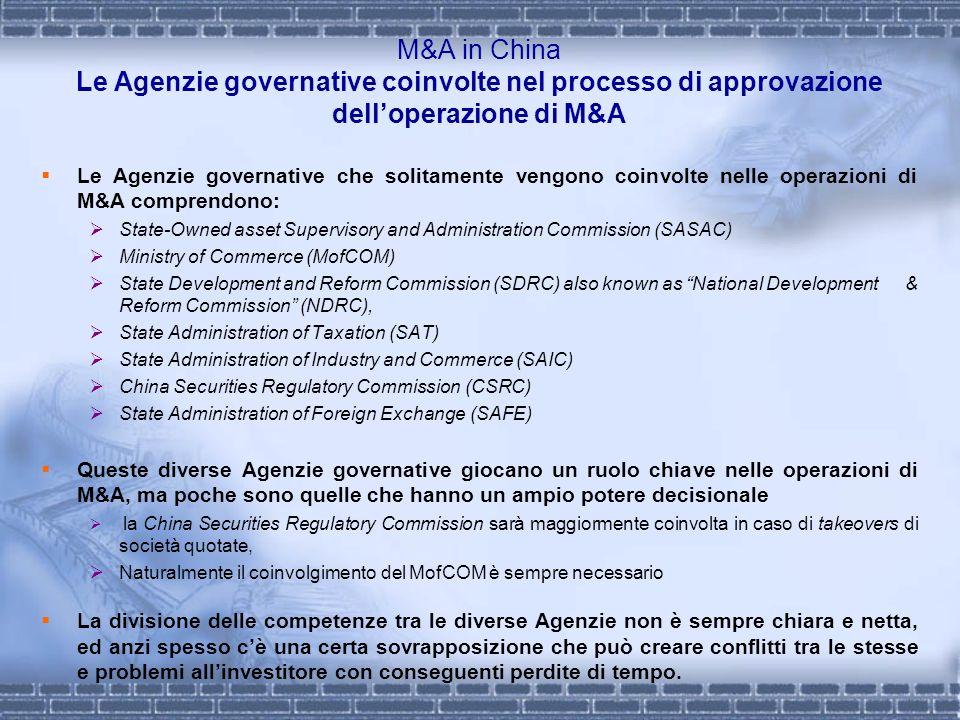 M&A in China Le Agenzie governative coinvolte nel processo di approvazione delloperazione di M&A Le Agenzie governative che solitamente vengono coinvo