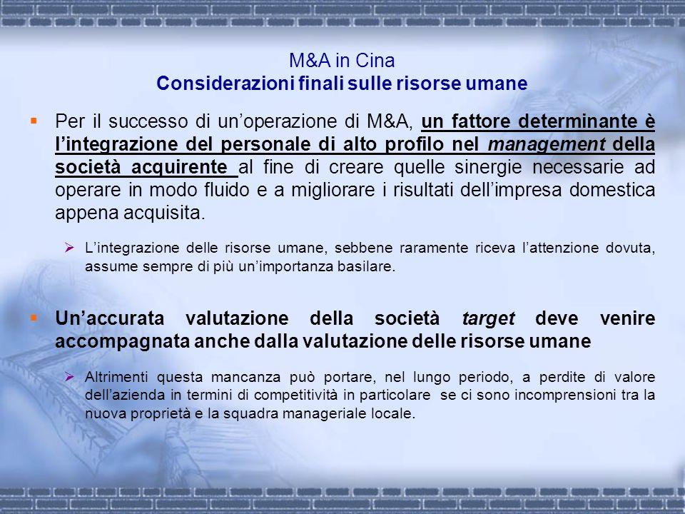 M&A in Cina Considerazioni finali sulle risorse umane Per il successo di unoperazione di M&A, un fattore determinante è lintegrazione del personale di