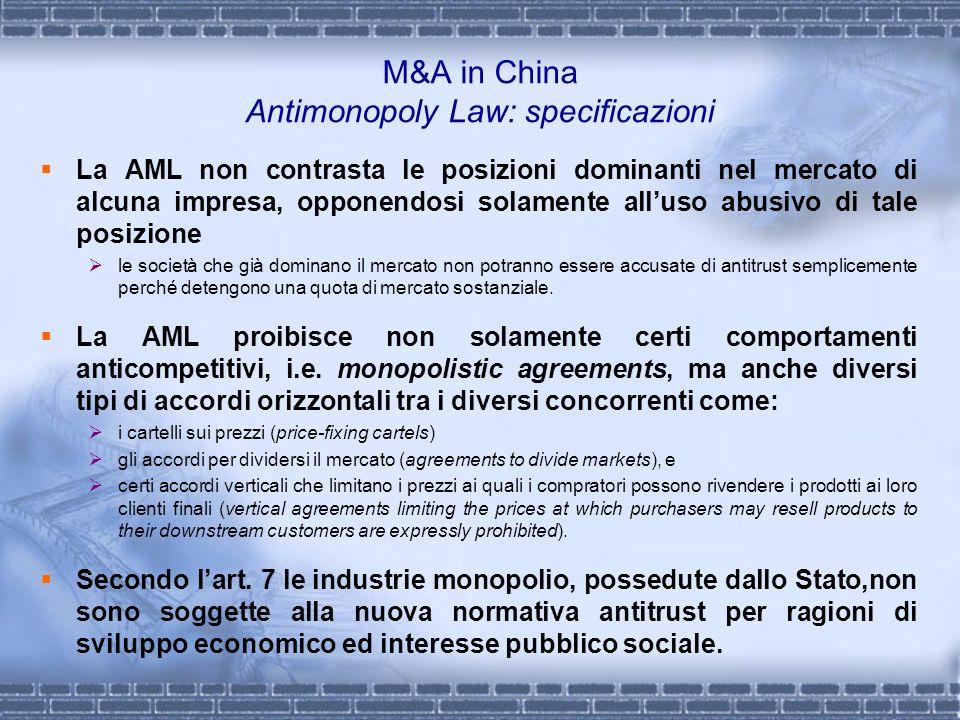 M&A in China Antimonopoly Law: specificazioni La AML non contrasta le posizioni dominanti nel mercato di alcuna impresa, opponendosi solamente alluso