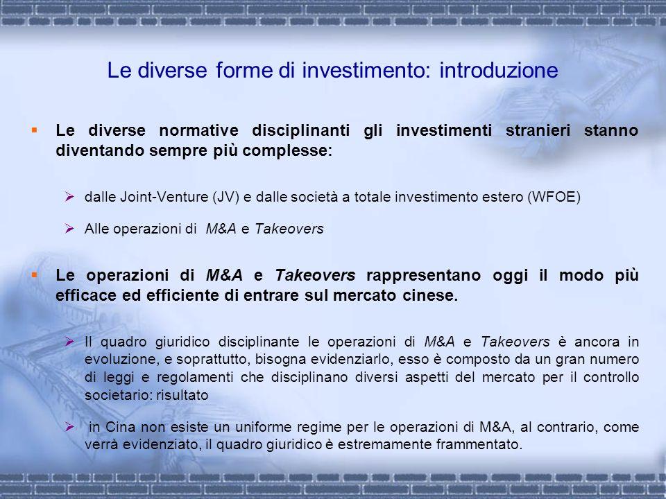 Le diverse forme di investimento: introduzione Le diverse normative disciplinanti gli investimenti stranieri stanno diventando sempre più complesse: d