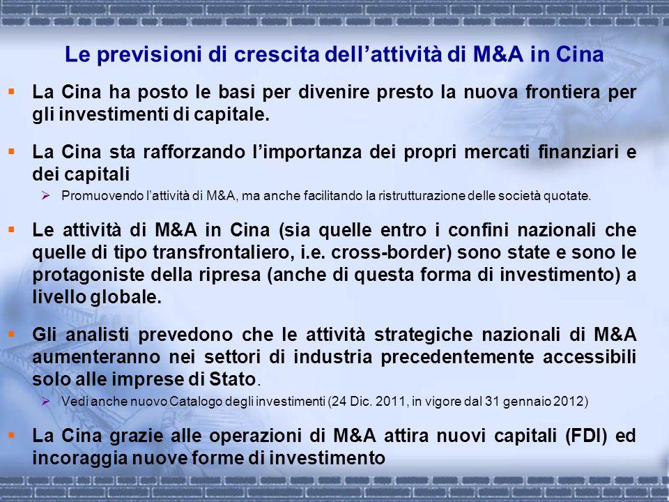 Le previsioni di crescita dellattività di M&A in Cina La Cina ha posto le basi per divenire presto la nuova frontiera per gli investimenti di capitale
