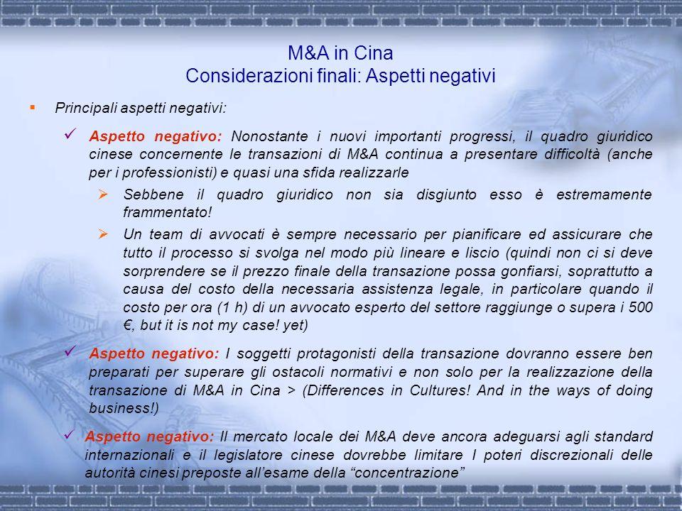M&A in Cina Considerazioni finali: Aspetti negativi Principali aspetti negativi: Aspetto negativo: Nonostante i nuovi importanti progressi, il quadro