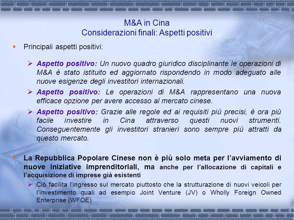 M&A in Cina Considerazioni finali: Aspetti positivi Principali aspetti positivi: Aspetto positivo: Un nuovo quadro giuridico disciplinante le operazio