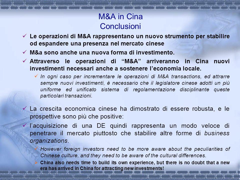 M&A in Cina Conclusioni Le operazioni di M&A rappresentano un nuovo strumento per stabilire od espandere una presenza nel mercato cinese M&a sono anch