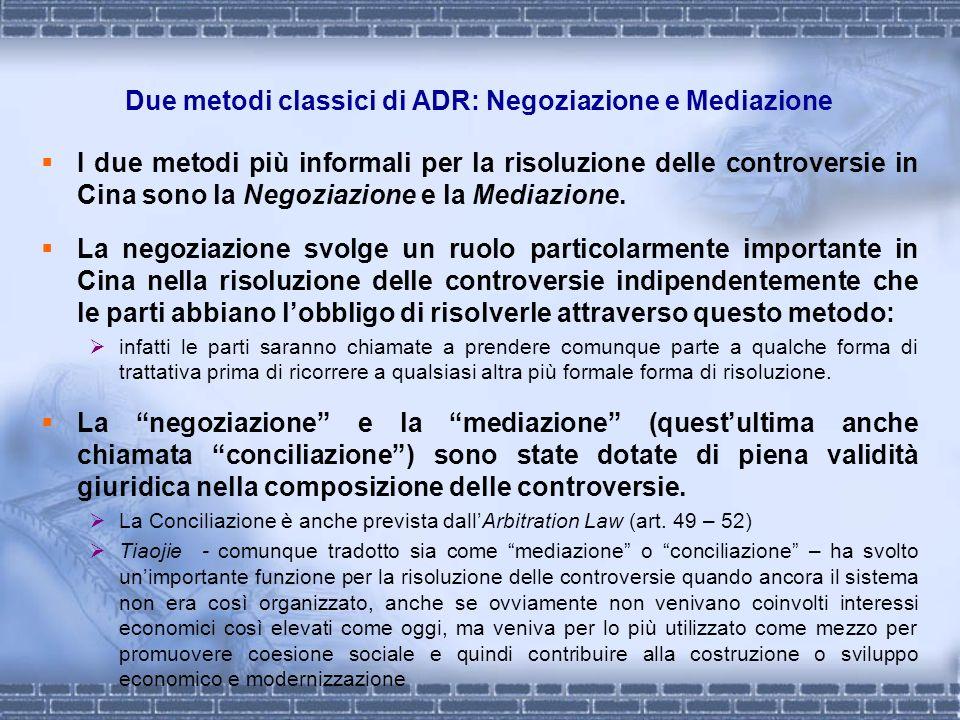Due metodi classici di ADR: Negoziazione e Mediazione I due metodi più informali per la risoluzione delle controversie in Cina sono la Negoziazione e