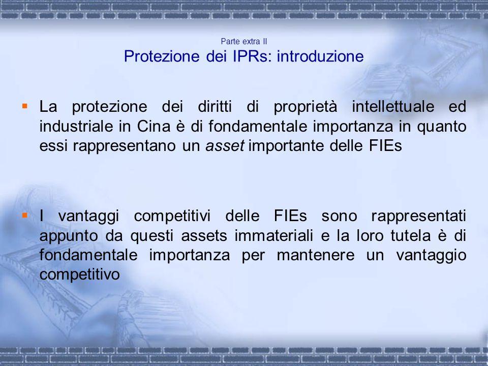 Parte extra II Protezione dei IPRs: introduzione La protezione dei diritti di proprietà intellettuale ed industriale in Cina è di fondamentale importa