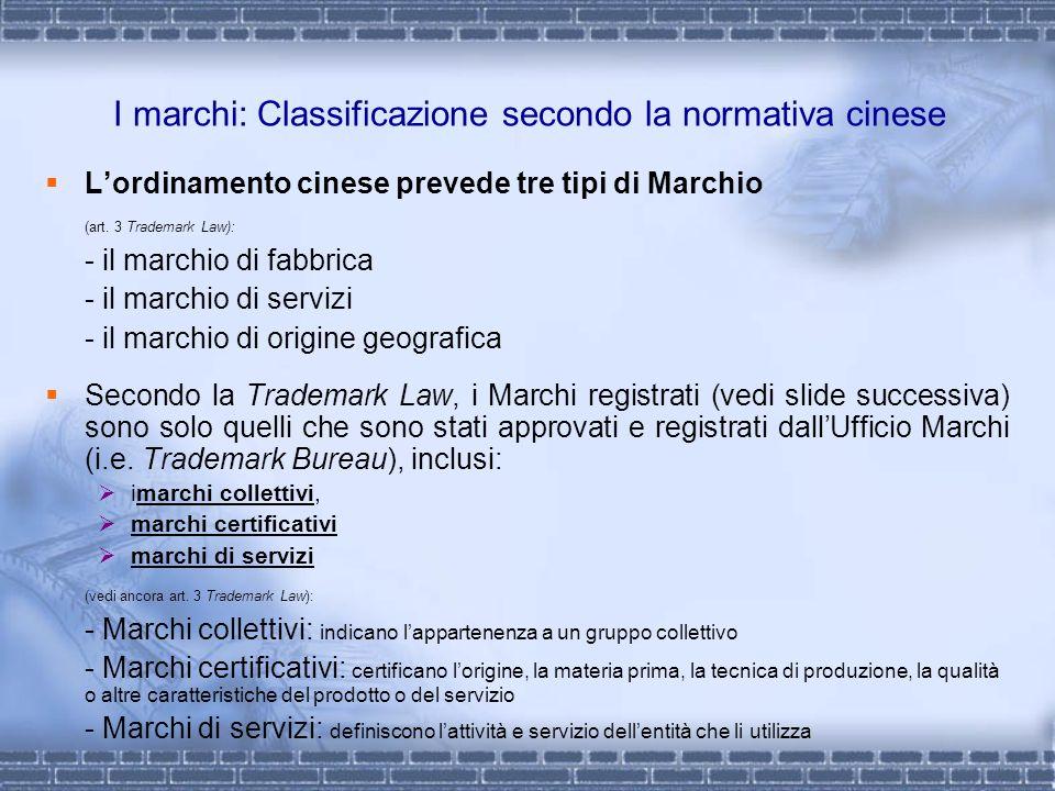 I marchi: Classificazione secondo la normativa cinese Lordinamento cinese prevede tre tipi di Marchio (art. 3 Trademark Law): - il marchio di fabbrica