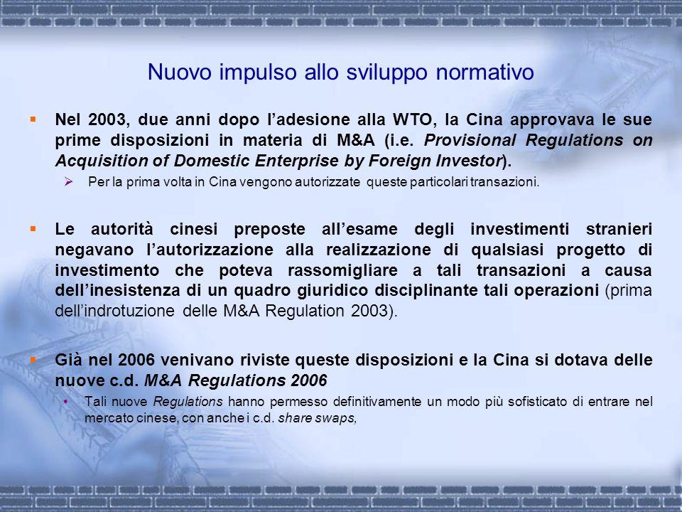 Nuovo impulso allo sviluppo normativo Nel 2003, due anni dopo ladesione alla WTO, la Cina approvava le sue prime disposizioni in materia di M&A (i.e.