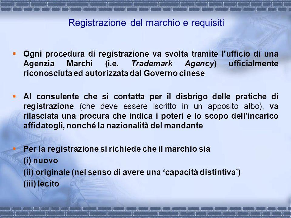 Registrazione del marchio e requisiti Ogni procedura di registrazione va svolta tramite lufficio di una Agenzia Marchi (i.e. Trademark Agency) ufficia