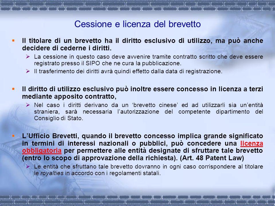 Cessione e licenza del brevetto Il titolare di un brevetto ha il diritto esclusivo di utilizzo, ma può anche decidere di cederne i diritti. La cession
