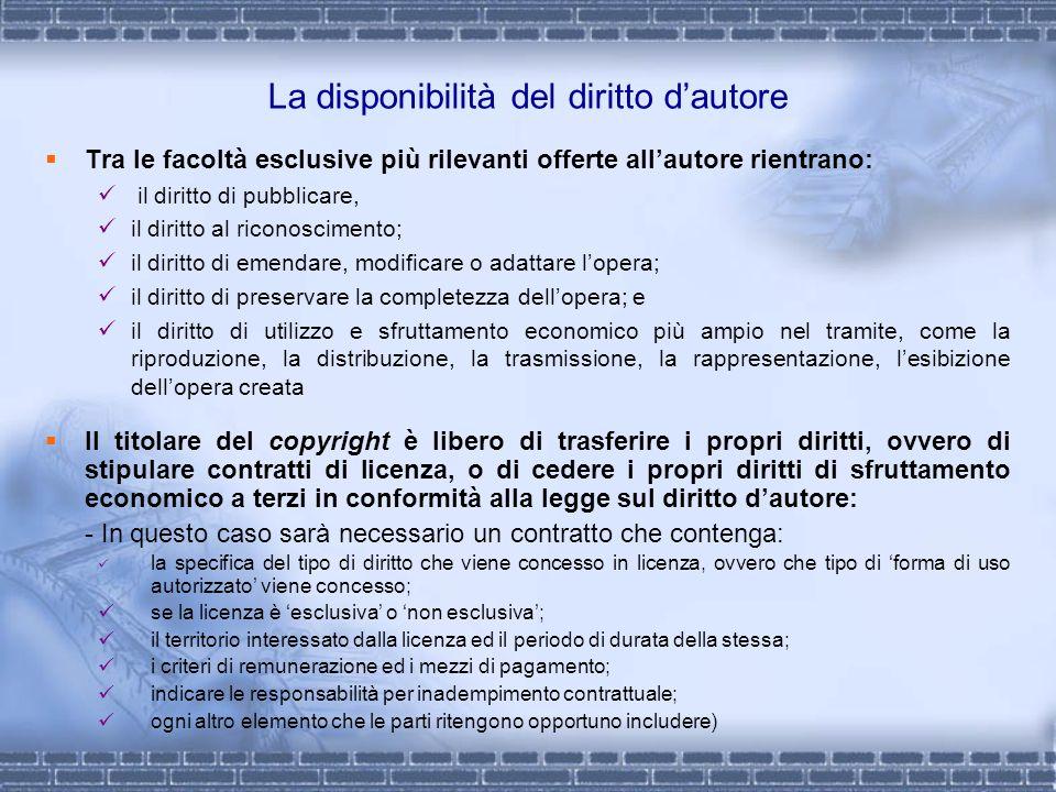 La disponibilità del diritto dautore Tra le facoltà esclusive più rilevanti offerte allautore rientrano: il diritto di pubblicare, il diritto al ricon