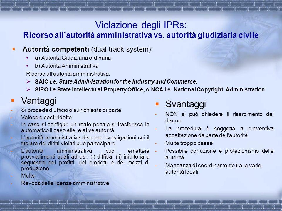 Violazione degli IPRs: Ricorso allautorità amministrativa vs. autorità giudiziaria civile Autorità competenti (dual-track system): a) Autorità Giudizi