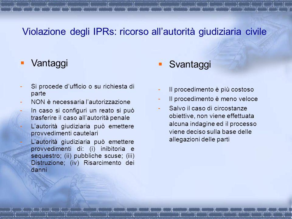 Violazione degli IPRs: ricorso allautorità giudiziaria civile Svantaggi -Il procedimento è più costoso -Il procedimento è meno veloce -Salvo il caso d