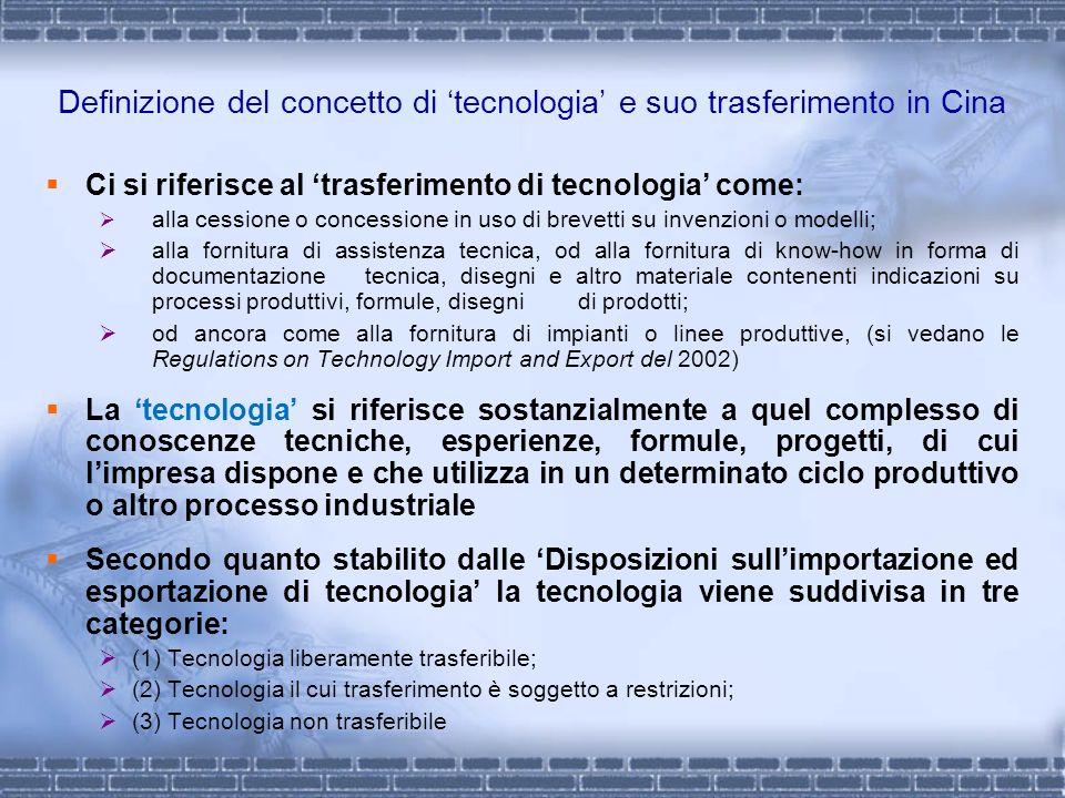 Definizione del concetto di tecnologia e suo trasferimento in Cina Ci si riferisce al trasferimento di tecnologia come: alla cessione o concessione in