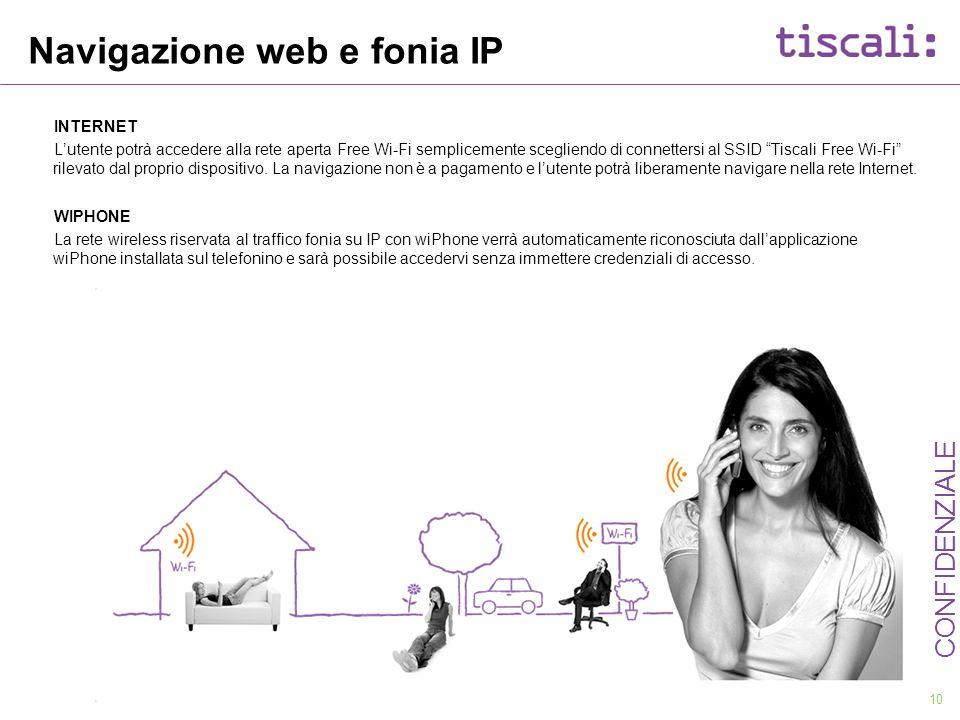 10 CONFIDENZIALE Navigazione web e fonia IP INTERNET Lutente potrà accedere alla rete aperta Free Wi-Fi semplicemente scegliendo di connettersi al SSI