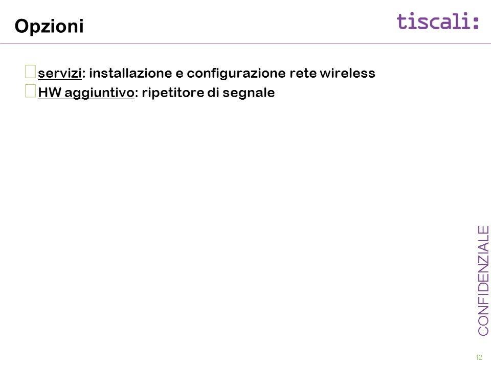 12 CONFIDENZIALE Opzioni servizi: installazione e configurazione rete wireless HW aggiuntivo: ripetitore di segnale