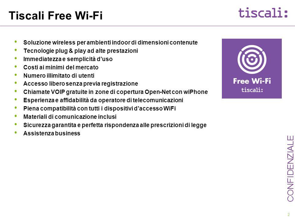 2 CONFIDENZIALE Tiscali Free Wi-Fi Soluzione wireless per ambienti indoor di dimensioni contenute Tecnologie plug & play ad alte prestazioni Immediate
