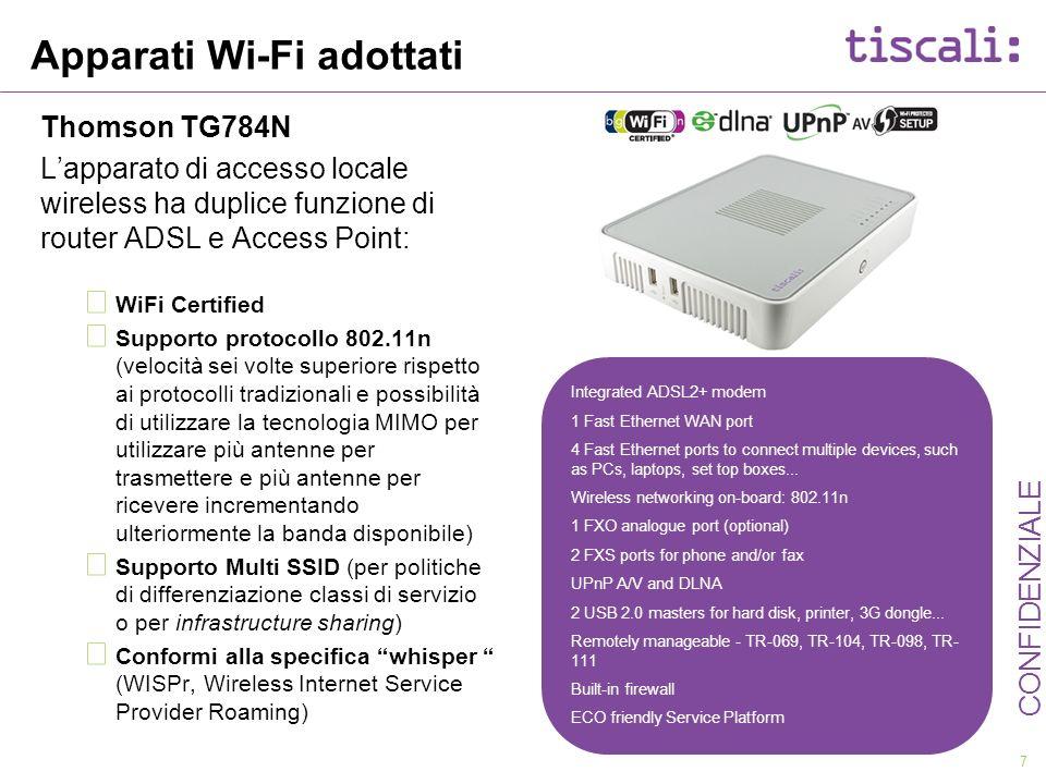 7 CONFIDENZIALE Apparati Wi-Fi adottati Thomson TG784N Lapparato di accesso locale wireless ha duplice funzione di router ADSL e Access Point: WiFi Ce