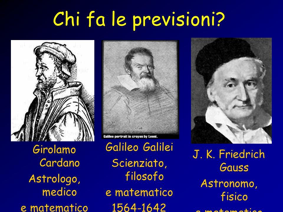 Chi fa le previsioni? Girolamo Cardano Astrologo, medico e matematico 1501-1576 Galileo Galilei Scienziato, filosofo e matematico 1564-1642 J. K. Frie
