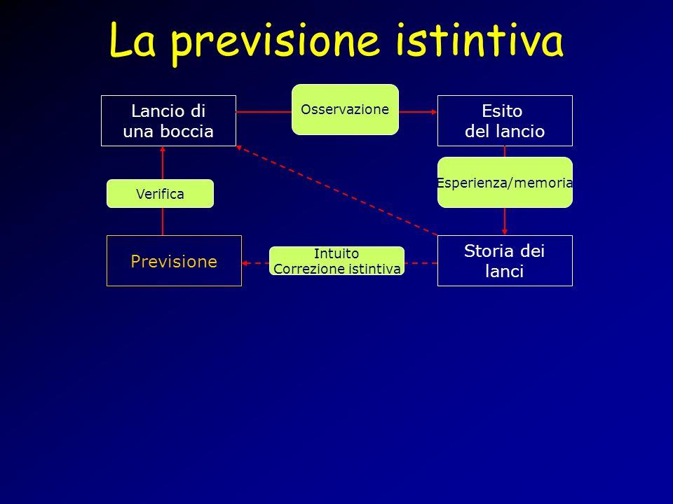 La previsione istintiva Lancio di una boccia Esito del lancio Storia dei lanci Previsione Osservazione Esperienza/memoria Verifica Intuito Correzione