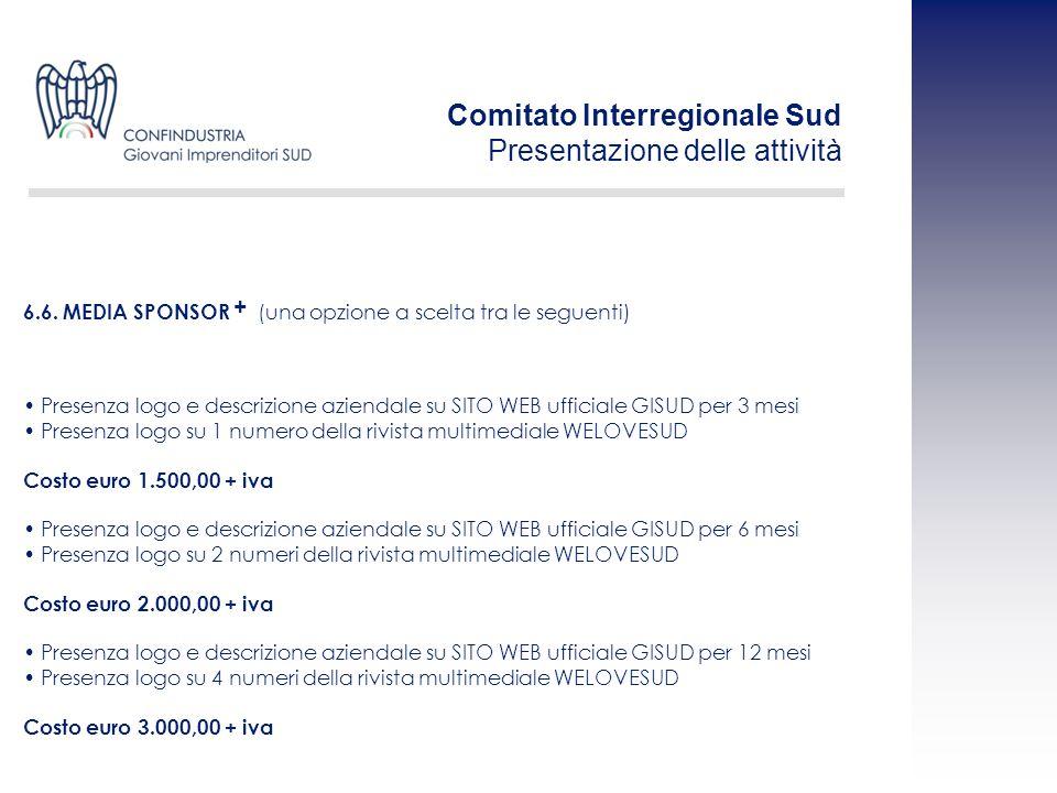 Presenza logo e descrizione aziendale su SITO WEB ufficiale GISUD per 3 mesi Presenza logo su 1 numero della rivista multimediale WELOVESUD Costo euro