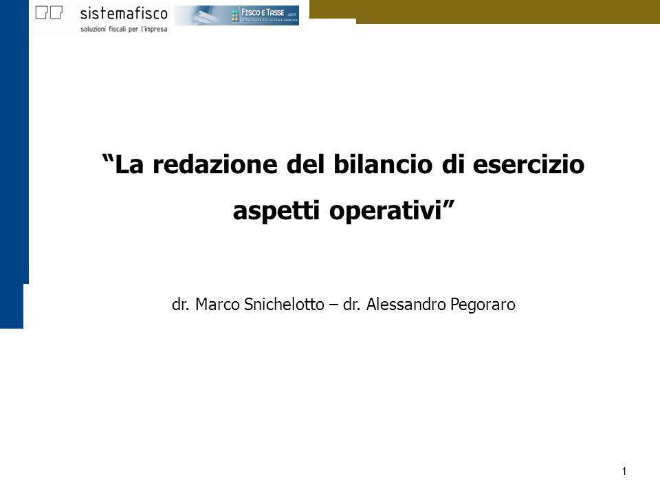 1 La redazione del bilancio di esercizio aspetti operativi dr. Marco Snichelotto – dr. Alessandro Pegoraro