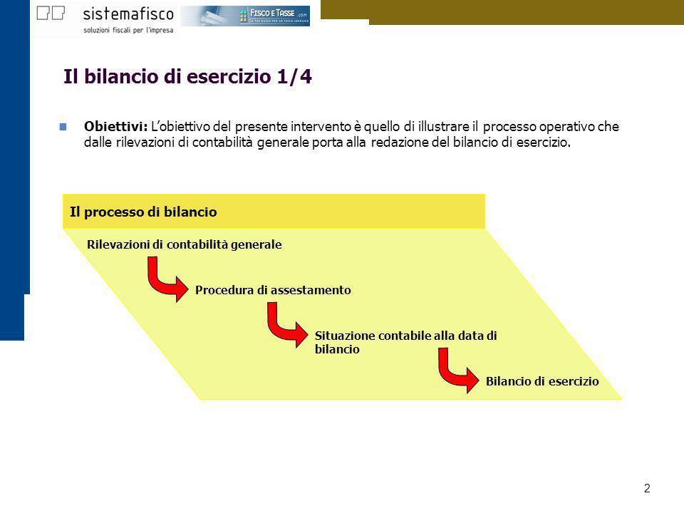 2 Il bilancio di esercizio 1/4 Obiettivi: Lobiettivo del presente intervento è quello di illustrare il processo operativo che dalle rilevazioni di con