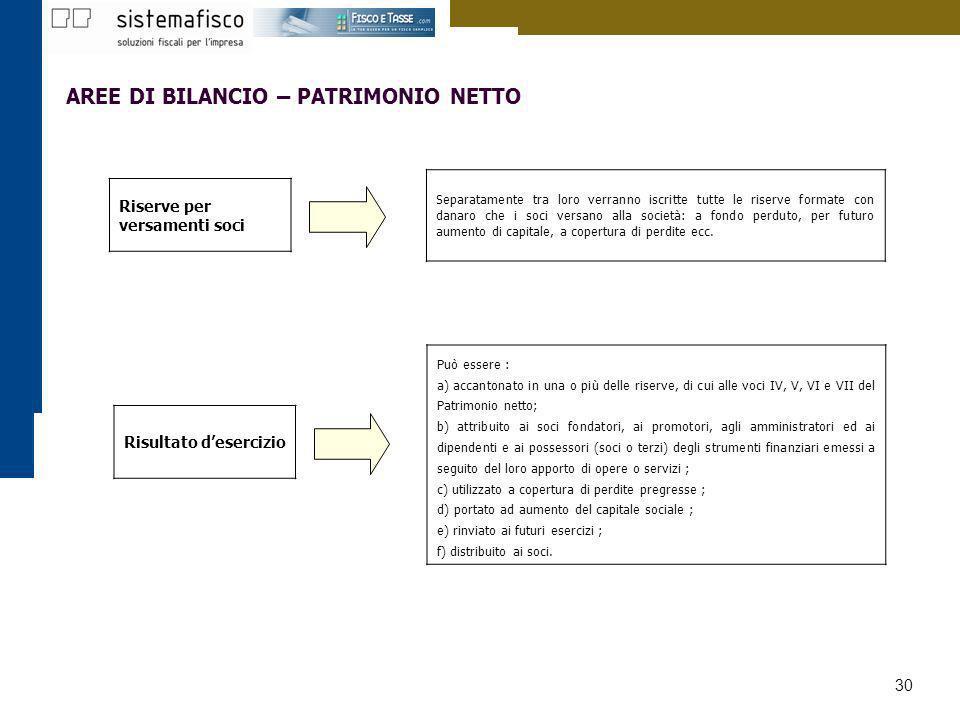 30 AREE DI BILANCIO – PATRIMONIO NETTO Può essere : a) accantonato in una o più delle riserve, di cui alle voci IV, V, VI e VII del Patrimonio netto;