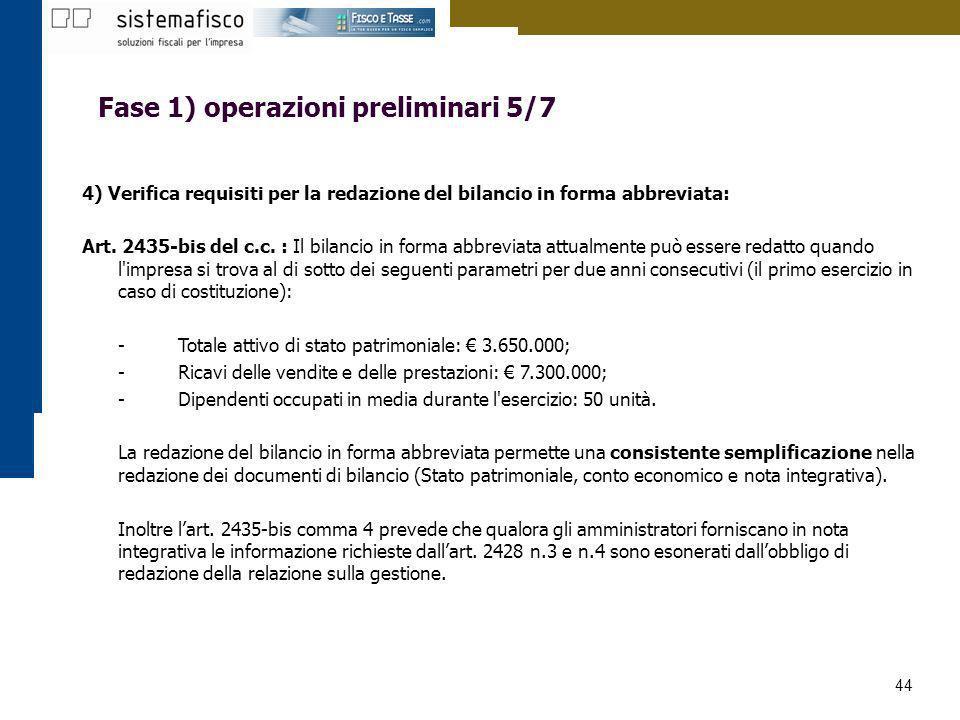 44 Fase 1) operazioni preliminari 5/7 4) Verifica requisiti per la redazione del bilancio in forma abbreviata: Art. 2435-bis del c.c. : Il bilancio in