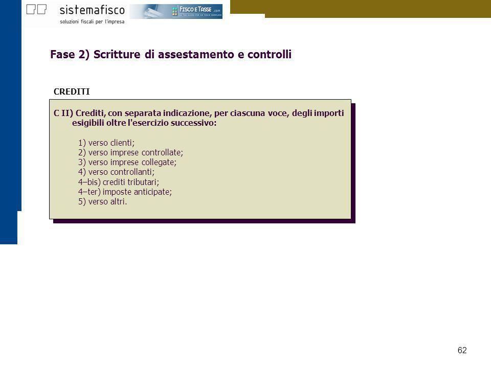 62 Fase 2) Scritture di assestamento e controlli CREDITI C II) Crediti, con separata indicazione, per ciascuna voce, degli importi esigibili oltre l'e