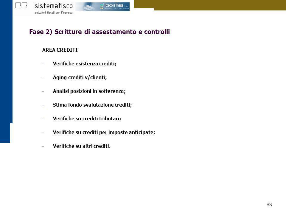 63 Fase 2) Scritture di assestamento e controlli AREA CREDITI - Verifiche esistenza crediti; - Aging crediti v/clienti; - Analisi posizioni in soffere