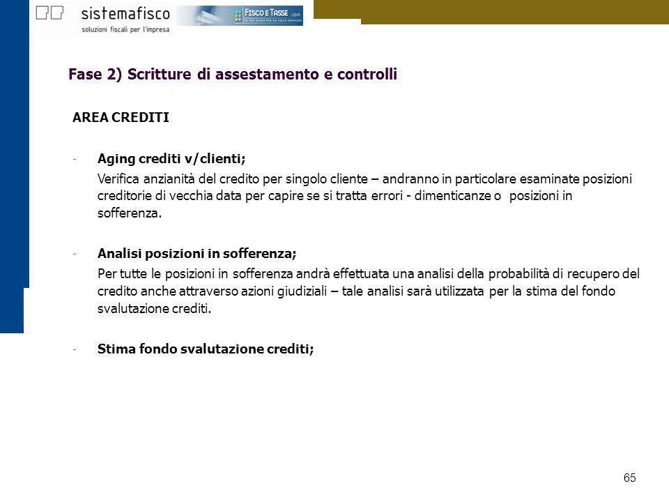 65 Fase 2) Scritture di assestamento e controlli AREA CREDITI - Aging crediti v/clienti; Verifica anzianità del credito per singolo cliente – andranno