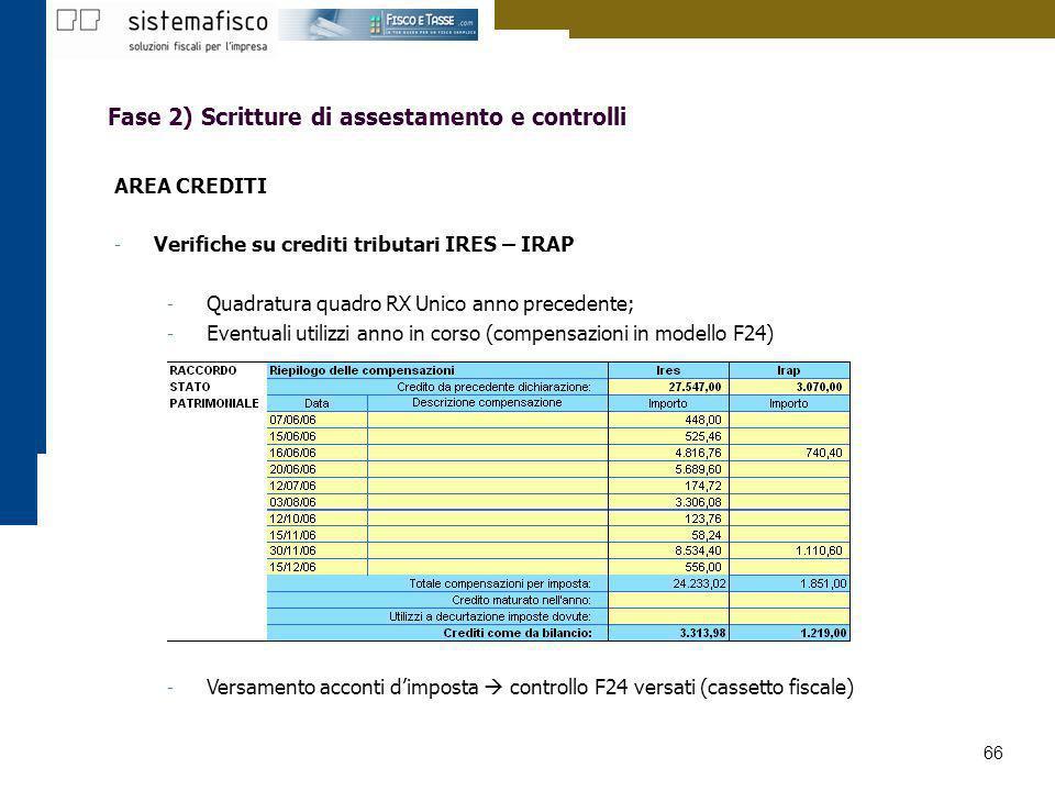 66 Fase 2) Scritture di assestamento e controlli AREA CREDITI - Verifiche su crediti tributari IRES – IRAP - Quadratura quadro RX Unico anno precedent