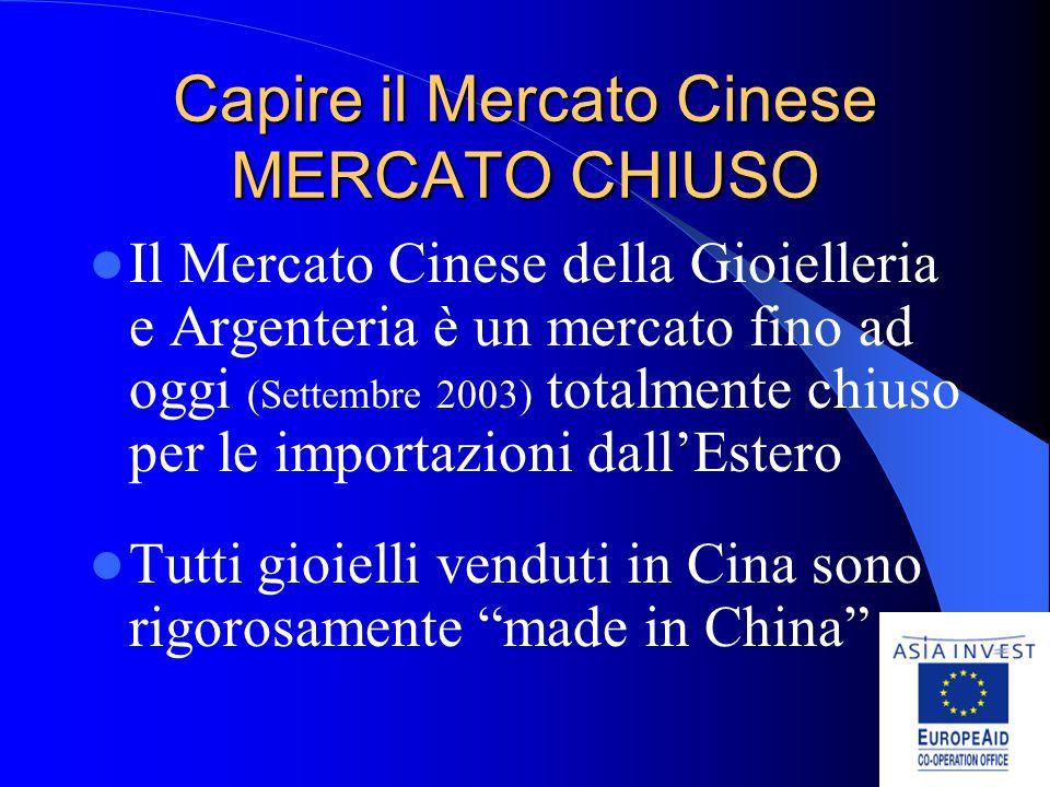 Capire il Mercato Cinese MERCATO CHIUSO Il Mercato Cinese della Gioielleria e Argenteria è un mercato fino ad oggi (Settembre 2003) totalmente chiuso per le importazioni dallEstero Tutti gioielli venduti in Cina sono rigorosamente made in China